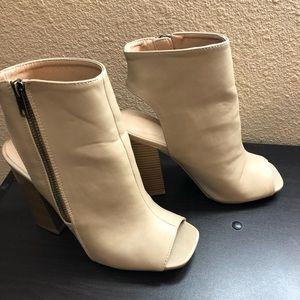 Wedge open toe booties
